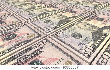 American dollar bills stacks background.