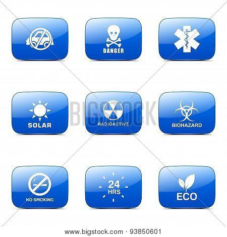 Warning Sign Square Vector Blue Icon Design Set