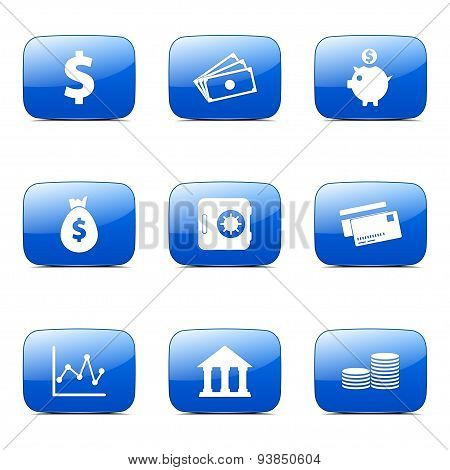 Financial Banking Square Vector Blue Icon Design Set