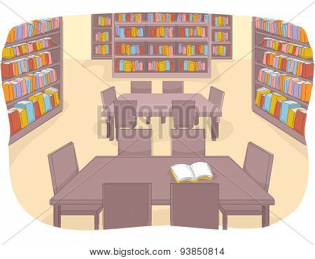Illustration of a Well Stocked Library That is Currently Not Being Used