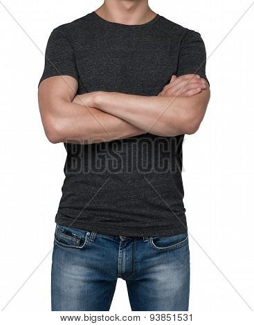 Man Wearing Black T-shirt With Crossed Hands. Isolated On White Background.