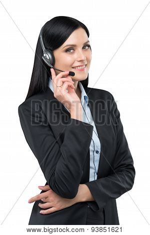 Portrait Of Brunette Support Phone Operator With The Headset. Isolated On White Background