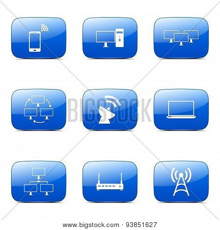 Telecom Communication Square Vector Blue Icon Design Set 2