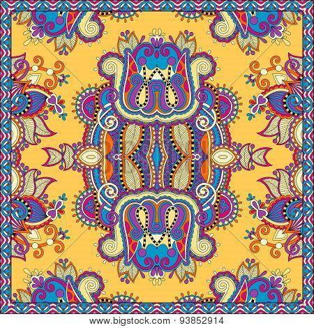 Traditional yellow ornamental floral paisley bandanna