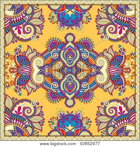 Traditional ornamental floral paisley bandanna. Square yellow or