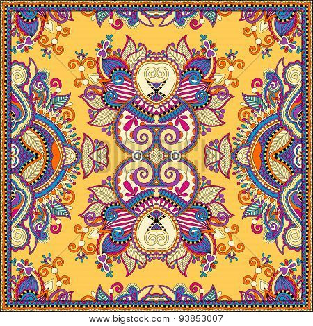Traditional yellow ornamental floral paisley bandanna