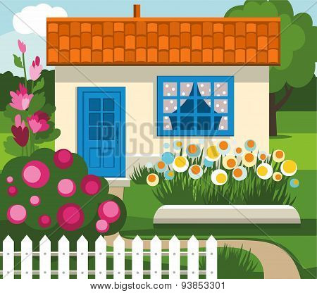 Summer House, Garden, Flowers...