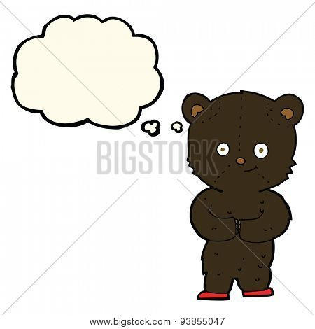 cartoon teddy black bear cub with thought bubble