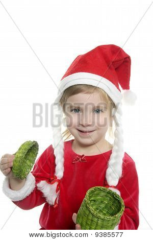 Santa Little Girl With Green Present Box
