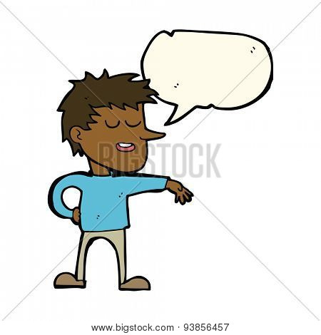 cartoon man making dismissive gesture with thought bubble