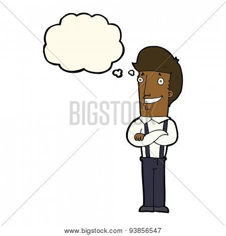 cartoon proud man with thought bubble