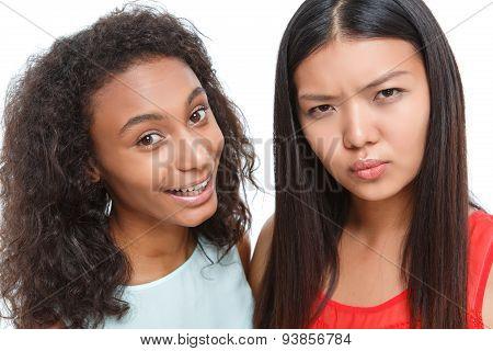Positive friends making faces