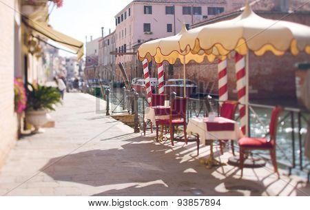 Tilt Shift Photo Of Restaurant In Venice