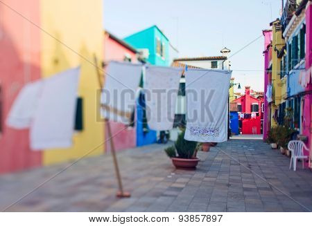Tilt Shift Photo In Street Of Burano Island