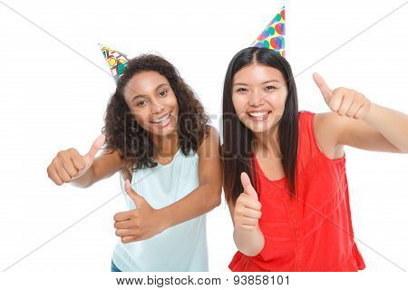 Positive ladies having birthday party