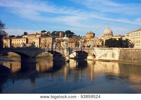 View Of Rome Near Castle San Angelo