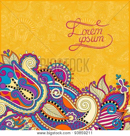 yellow paisley design on decorative floral background for invita