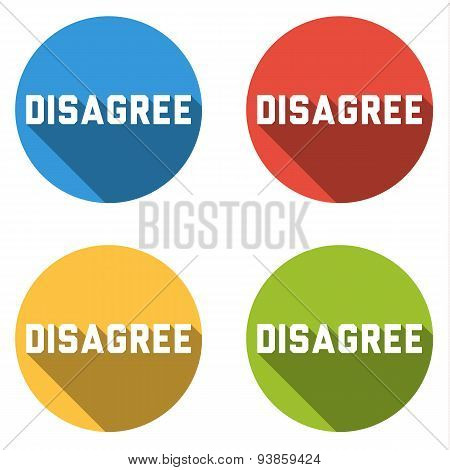 Collection Of 4 Isolated Flat Buttons For Disagree