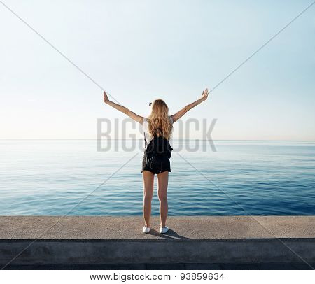 Freedom Woman Happy And Free Open Arms On Beach At Sunny Sunrise.  Beautiful Multiracial Asian Cauca