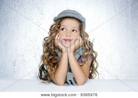 Winter Cap Wool Scarf Little Fashion Girl Portrait