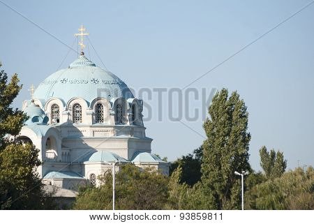Orthodox Cathedral, Ukraine , Crimea , Yevpatoria Disabled Man Under The Church Of St. Nicholas. Ope