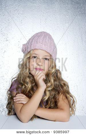 Thinking Gesture Little Girl Winter Pink Cap Portrait