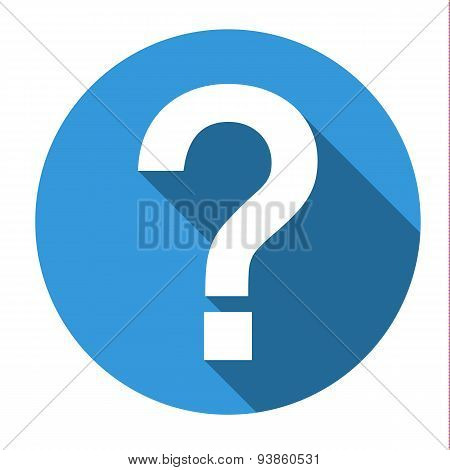 Isolated Blue Icon With White Question Mark (help, Faq, Support, ...)