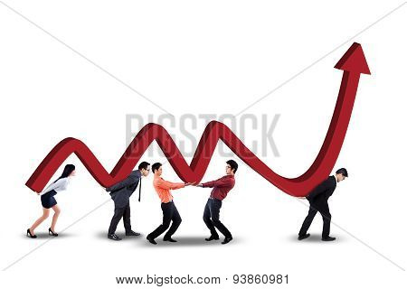Teamwork With Business Chart And Upward Arrow