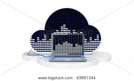 computer connected to music cloud server, Cloud music concept