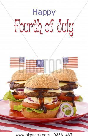 The Great Bbq Hamburger With Flags