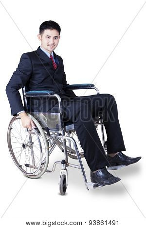 Young Disabled Businessman In Wheelchair