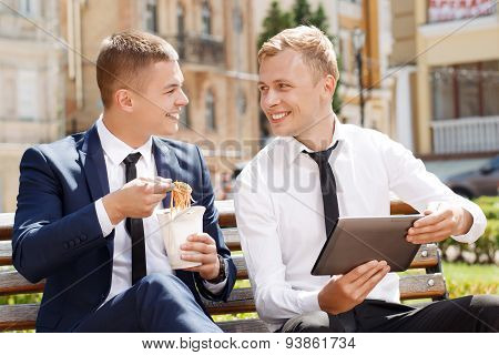 Two man during lunch break