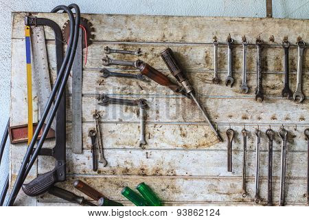 Tools on the table and board.