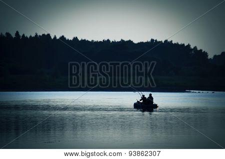 Men in  boat  fishing  on  sea