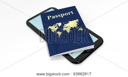 Passport and tablet/smartphone isolated on white background