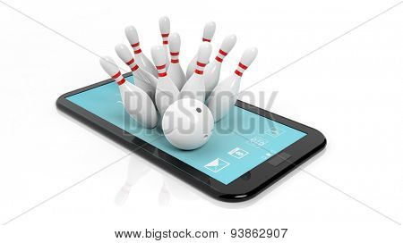 Bowling ball and pins set on tablet screen isolated on white