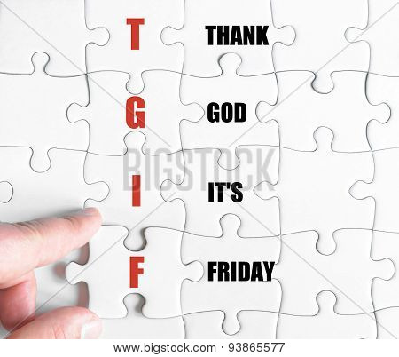 Last Puzzle Piece With Business Acronym Tgif