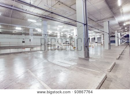 Empty Car Parking Lot In Modern Building Design With Conveniance Service
