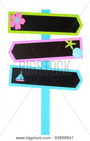 Colorful beach themed direction  chalk board signs. Add your own text.