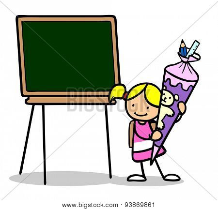 Girl with school cone and chalkboard at first day of school