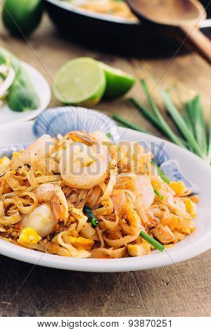 Padthai Thai noodle style on wooden background