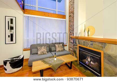 Interior design of a luxury living room with a fireplace.