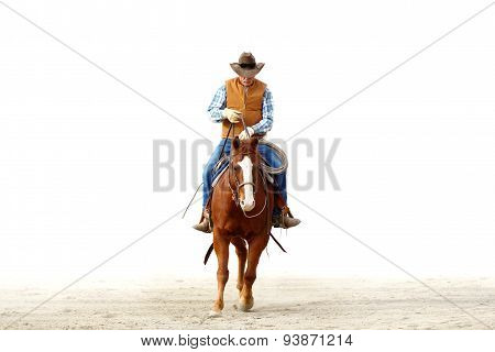 A cowboy riding his horse in a white background.