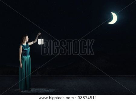 Girl lost in night