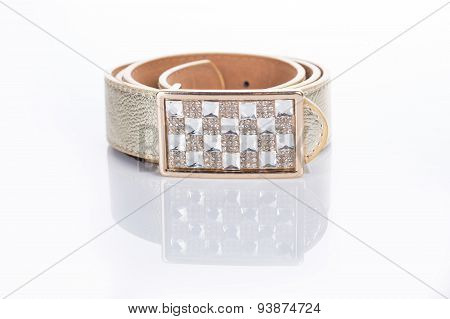 beige leather Women's belt with rhinestones
