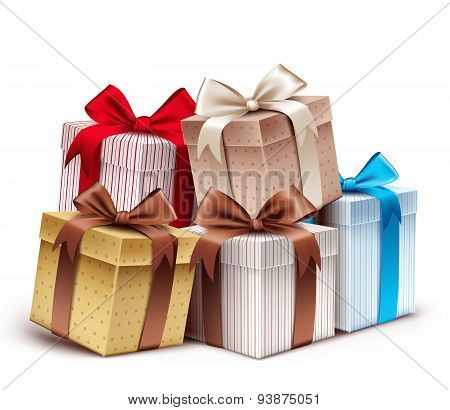Realistic 3D Collection of Colorful Pattern Gift Box with Ribbon