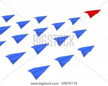 Leadership Concept. Paper Planes