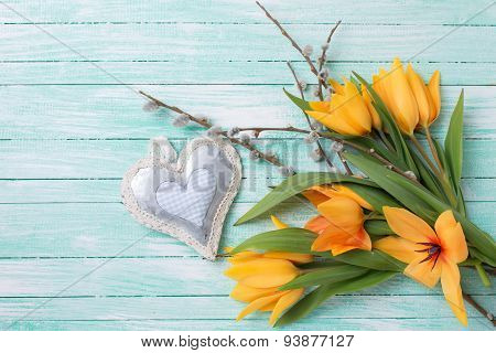 Background With Fresh Tulips, Willow  And Decorative Heart