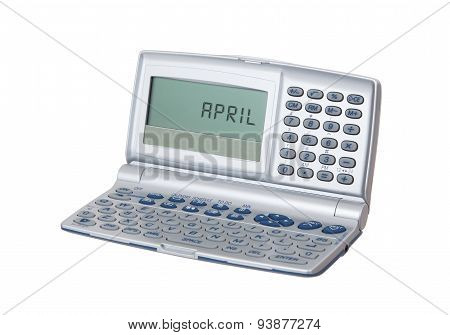 Electronic Personal Organiser Isolated - April