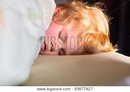 Adorable Kid Boy Sleeping And Dreaming In His Bed